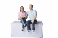 G Scale Young Sitting Man and Woman